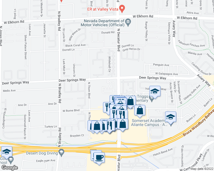 map of restaurants, bars, coffee shops, grocery stores, and more near 6741 North Decatur Boulevard in Las Vegas