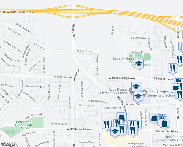 map of restaurants, bars, coffee shops, grocery stores, and more near Grand Cascade Place in North Las Vegas