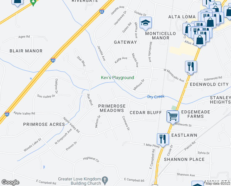 map of restaurants, bars, coffee shops, grocery stores, and more near 190 Connare Drive in Nashville