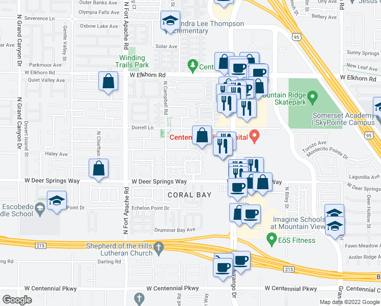 map of restaurants, bars, coffee shops, grocery stores, and more near 8981 Townbridge Avenue in Las Vegas