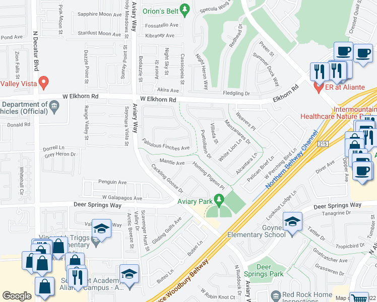 map of restaurants, bars, coffee shops, grocery stores, and more near 4013 Fabulous Finches Avenue in North Las Vegas