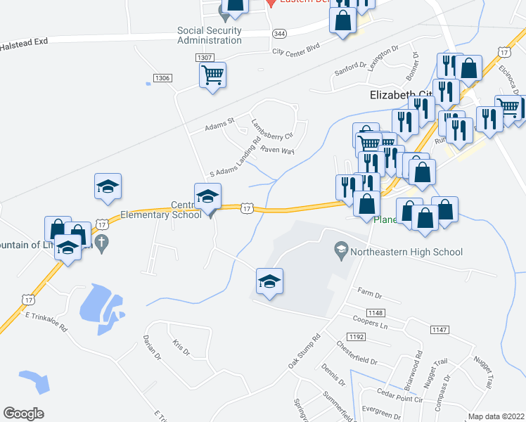 map of restaurants, bars, coffee shops, grocery stores, and more near 1044 U.S. 17 in Elizabeth City