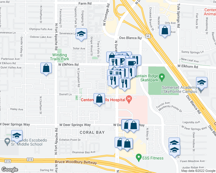 map of restaurants, bars, coffee shops, grocery stores, and more near 8924 Ethan Patrick Court in Las Vegas