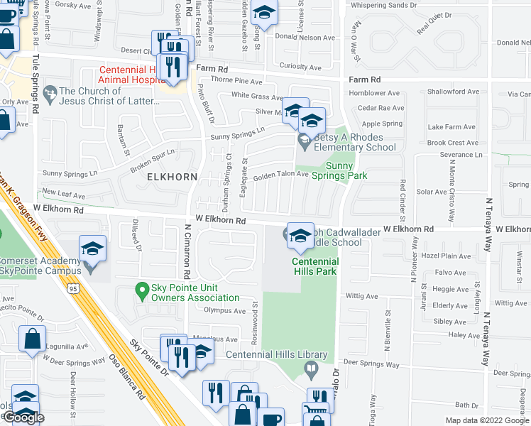 map of restaurants, bars, coffee shops, grocery stores, and more near Buglehorn Street in Las Vegas
