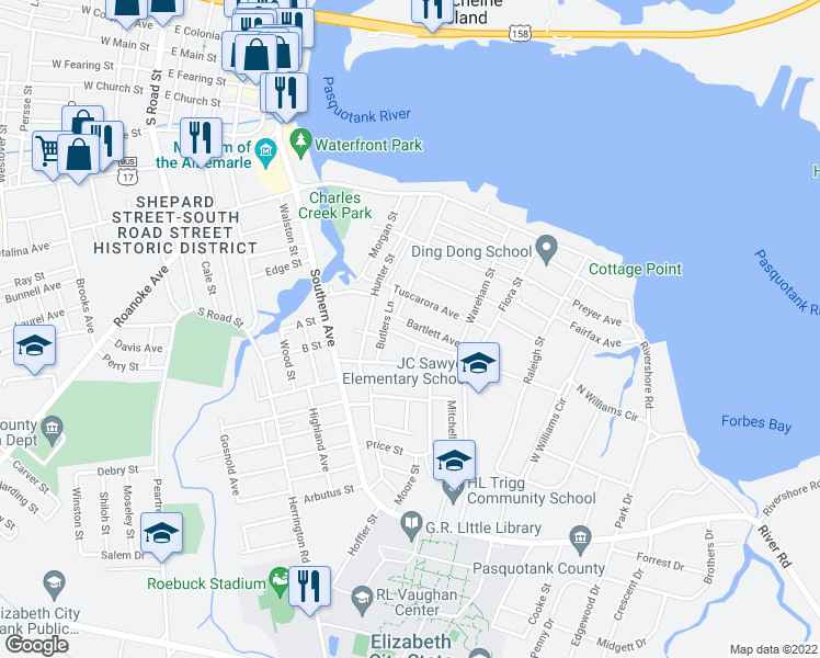 map of restaurants, bars, coffee shops, grocery stores, and more near 905 Bartlett Avenue in Elizabeth City
