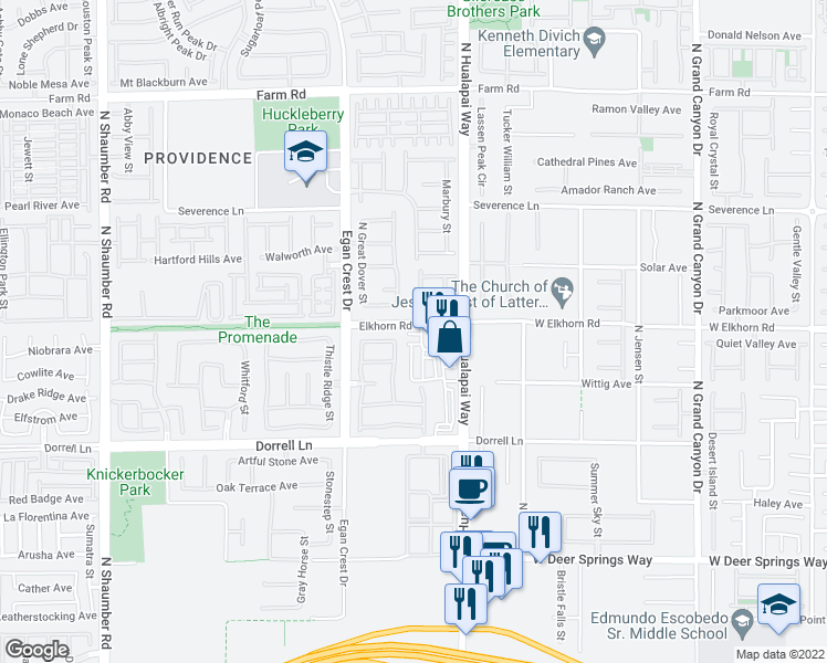 map of restaurants, bars, coffee shops, grocery stores, and more near 7099 North Hualapai Way in Las Vegas