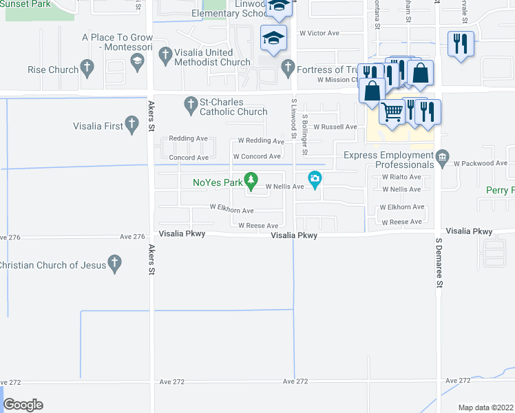 map of restaurants, bars, coffee shops, grocery stores, and more near 4742 Elkhorn Avenue in Visalia