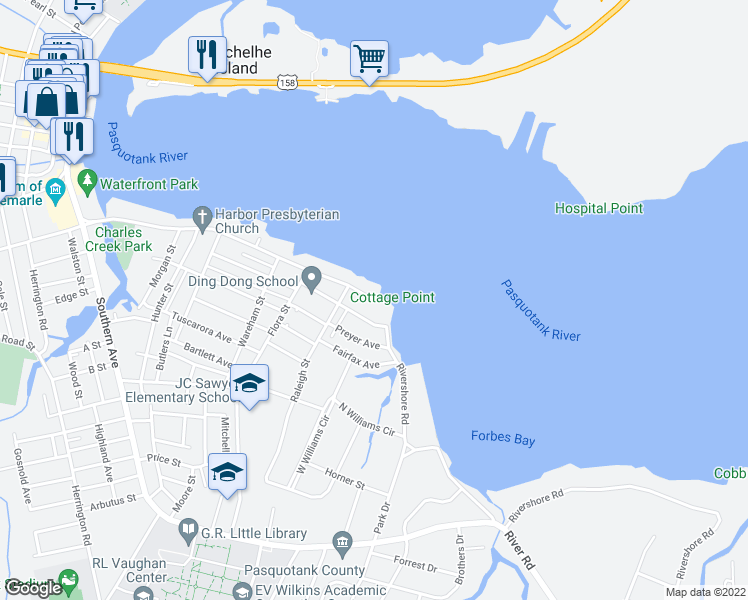 map of restaurants, bars, coffee shops, grocery stores, and more near 1213 Riverside Avenue in Elizabeth City