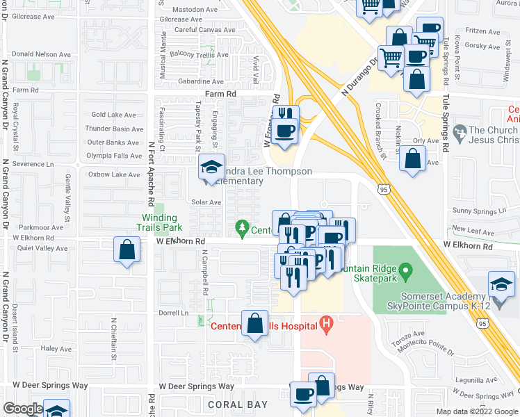 map of restaurants, bars, coffee shops, grocery stores, and more near 8905 Brentwood Grove Court in Las Vegas