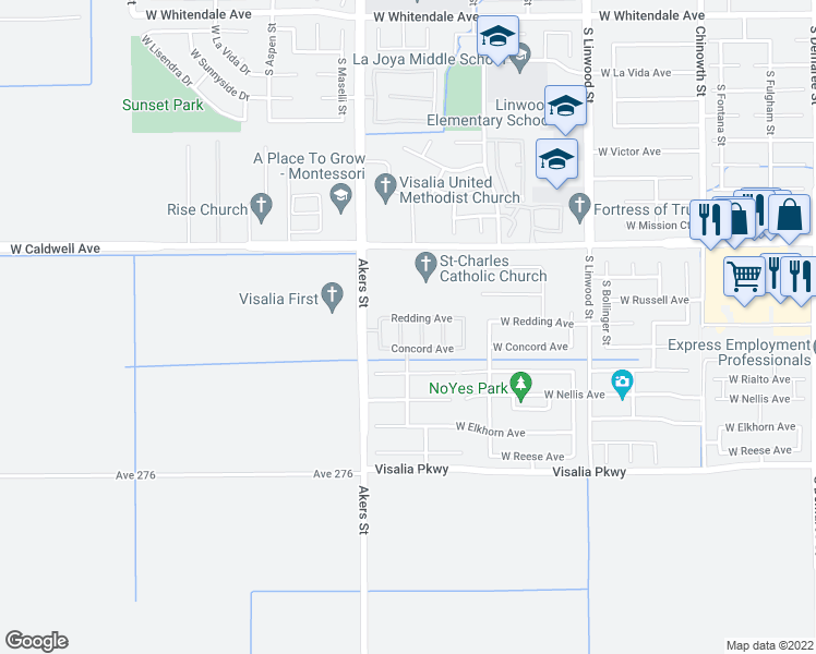 map of restaurants, bars, coffee shops, grocery stores, and more near 3934 Parkwood Street in Visalia