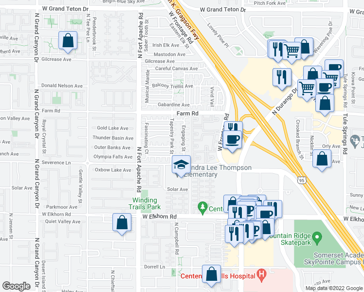 map of restaurants, bars, coffee shops, grocery stores, and more near 9024 Smart Court in Las Vegas