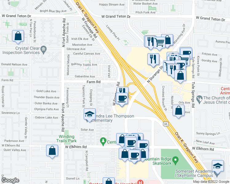 map of restaurants, bars, coffee shops, grocery stores, and more near 7545 Oso Blanca Road in Las Vegas
