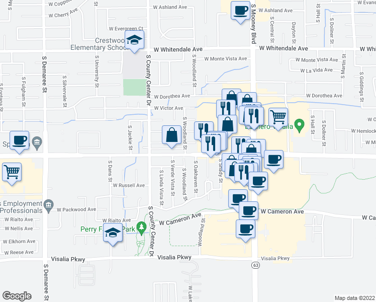 map of restaurants, bars, coffee shops, grocery stores, and more near 3530 South Woodland Street in Visalia