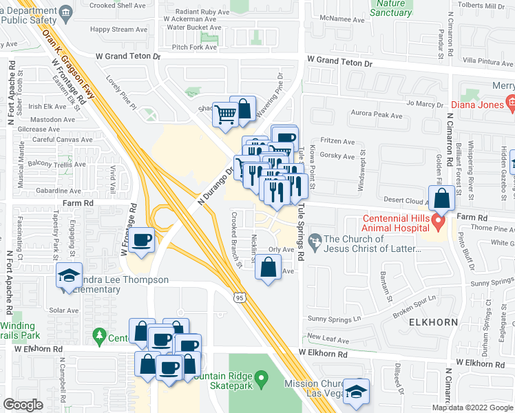 map of restaurants, bars, coffee shops, grocery stores, and more near 7584 Nicklin Street in Las Vegas