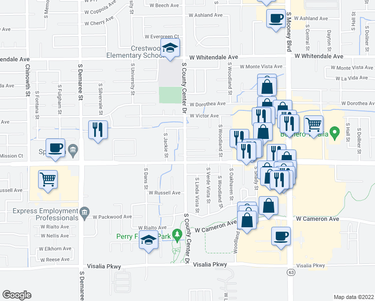 map of restaurants, bars, coffee shops, grocery stores, and more near 2835 West Mission Court in Visalia