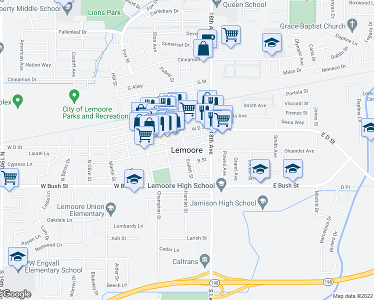 map of restaurants, bars, coffee shops, grocery stores, and more near 0 North Lemoore Avenue in Lemoore
