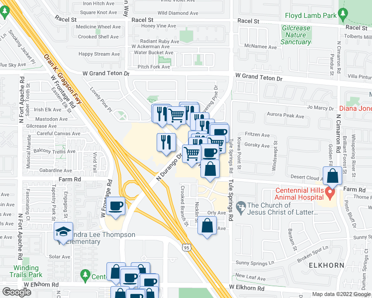 map of restaurants, bars, coffee shops, grocery stores, and more near N Durango Dr & Farm Rd in Las Vegas