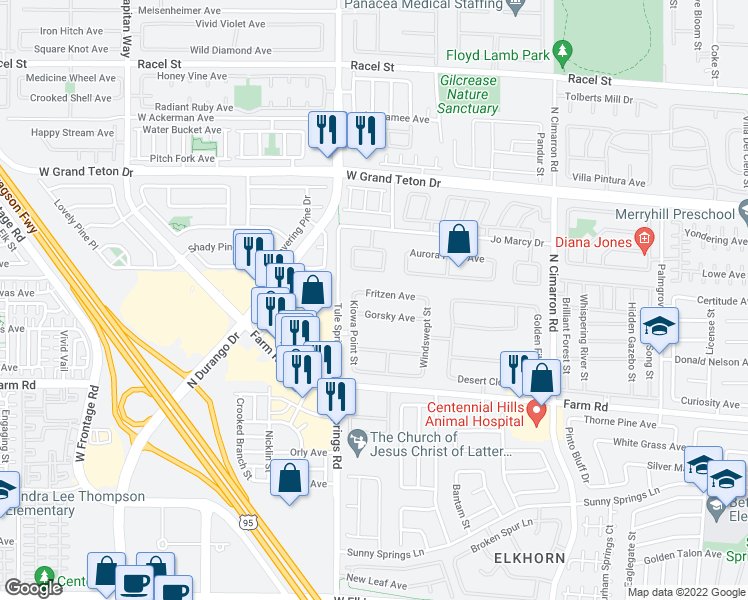 map of restaurants, bars, coffee shops, grocery stores, and more near 8313 Fritzen Avenue in Las Vegas