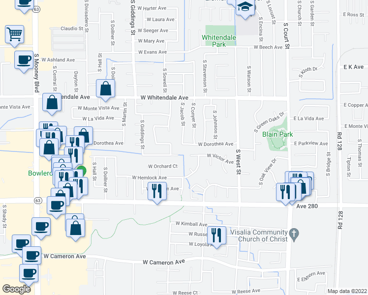 map of restaurants, bars, coffee shops, grocery stores, and more near 909 West Dorothea Avenue in Visalia