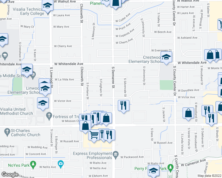 map of restaurants, bars, coffee shops, grocery stores, and more near 3702 West Dorothea Court in Visalia
