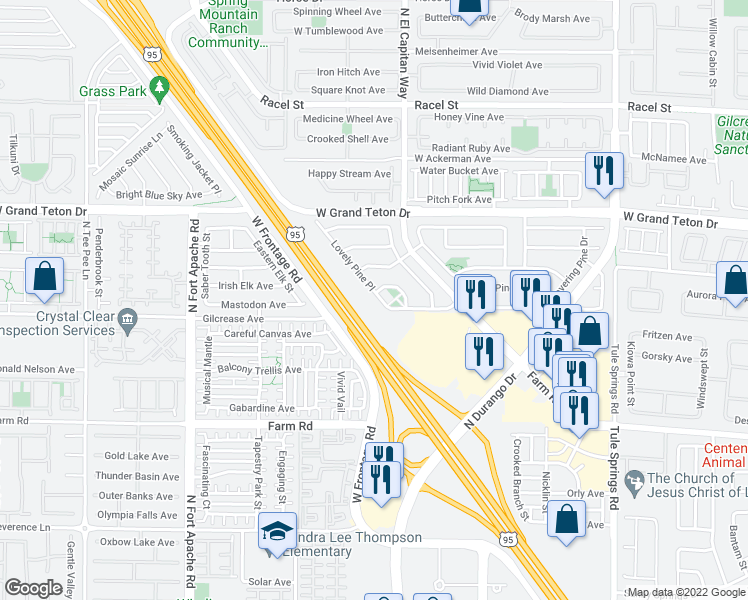 map of restaurants, bars, coffee shops, grocery stores, and more near 7821 Lovely Pine Place in Las Vegas