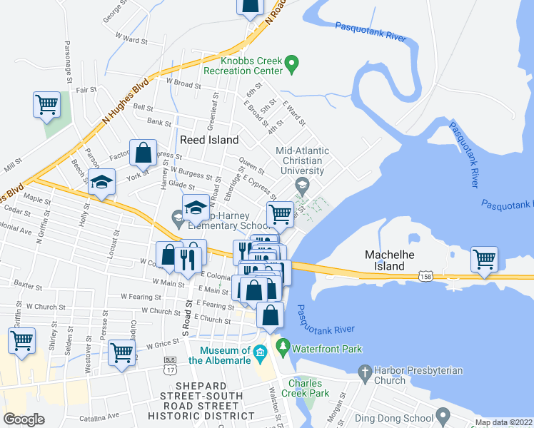 map of restaurants, bars, coffee shops, grocery stores, and more near 405 East Burgess Street in Elizabeth City