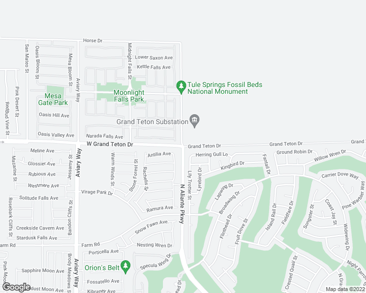 map of restaurants, bars, coffee shops, grocery stores, and more near W Grand Teton Dr & N Aliante Pkwy in North Las Vegas