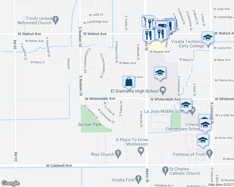 map of restaurants, bars, coffee shops, grocery stores, and more near 2650 South Peppertree Street in Visalia