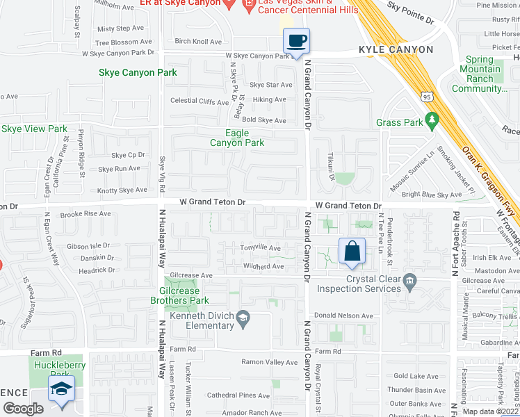 map of restaurants, bars, coffee shops, grocery stores, and more near 9745 Grand Teton Dr in Las Vegas