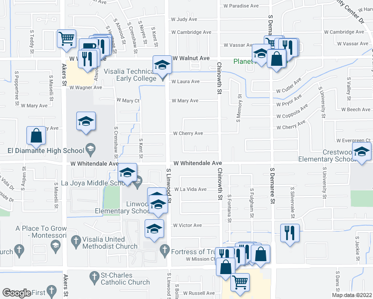 map of restaurants, bars, coffee shops, grocery stores, and more near 4328 West Country Avenue in Visalia