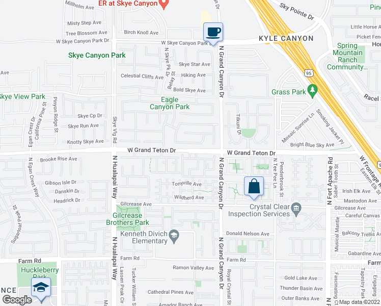 map of restaurants, bars, coffee shops, grocery stores, and more near 9745 Grand Teton Drive in Las Vegas