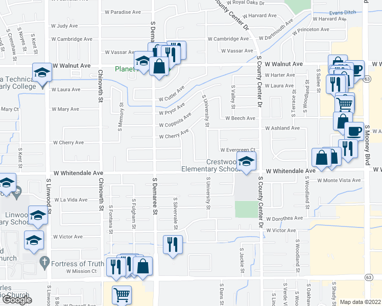 map of restaurants, bars, coffee shops, grocery stores, and more near 2627 South Mendonca Street in Visalia
