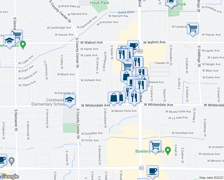 map of restaurants, bars, coffee shops, grocery stores, and more near 2736 South Sallee Street in Visalia