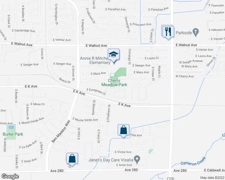 map of restaurants, bars, coffee shops, grocery stores, and more near 2201 East Cherry Avenue in Visalia
