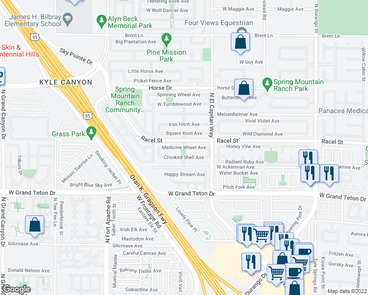map of restaurants, bars, coffee shops, grocery stores, and more near Medicine Wheel Avenue in Las Vegas
