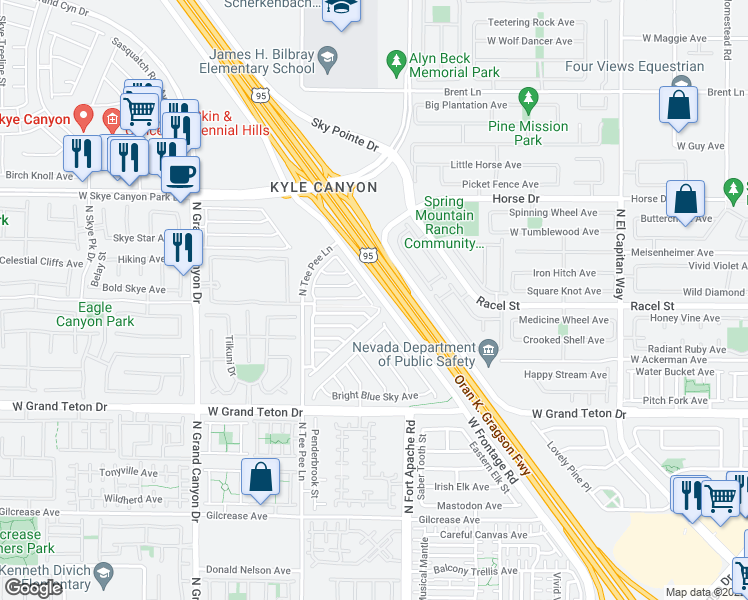 map of restaurants, bars, coffee shops, grocery stores, and more near 8212 Brilliant Pompon in Las Vegas