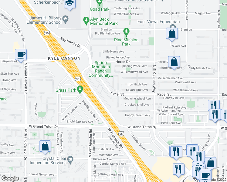 map of restaurants, bars, coffee shops, grocery stores, and more near 8233 Harvest Spring Place in Las Vegas
