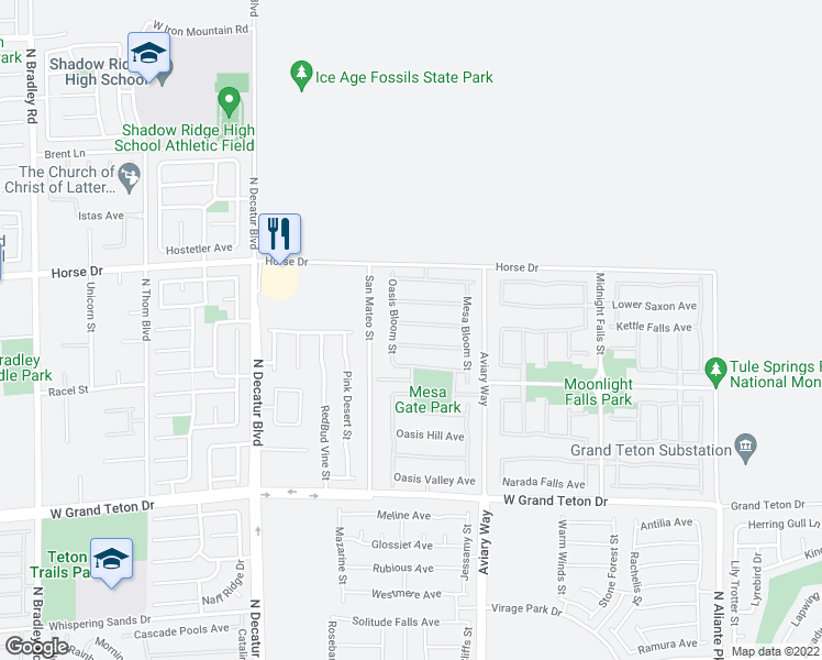 map of restaurants, bars, coffee shops, grocery stores, and more near 4417 Desert Park Avenue in North Las Vegas