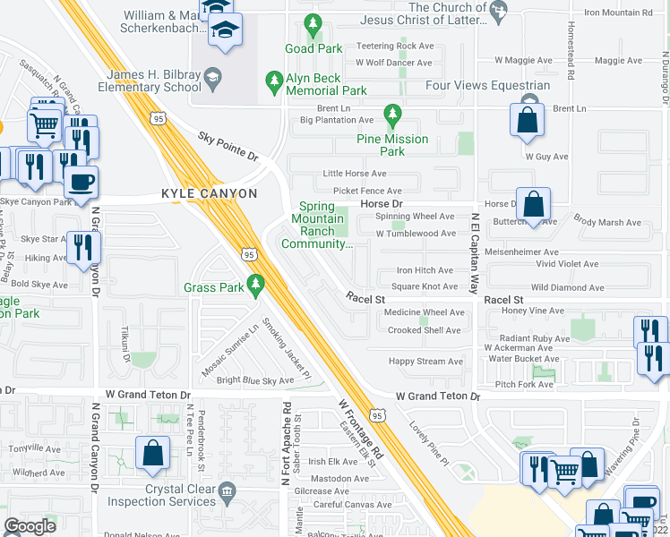 map of restaurants, bars, coffee shops, grocery stores, and more near 8285 Harvest Spring Place in Las Vegas