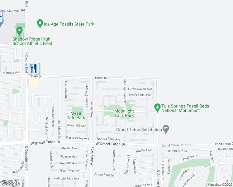 map of restaurants, bars, coffee shops, grocery stores, and more near 4058 Lancaster Falls Street in North Las Vegas