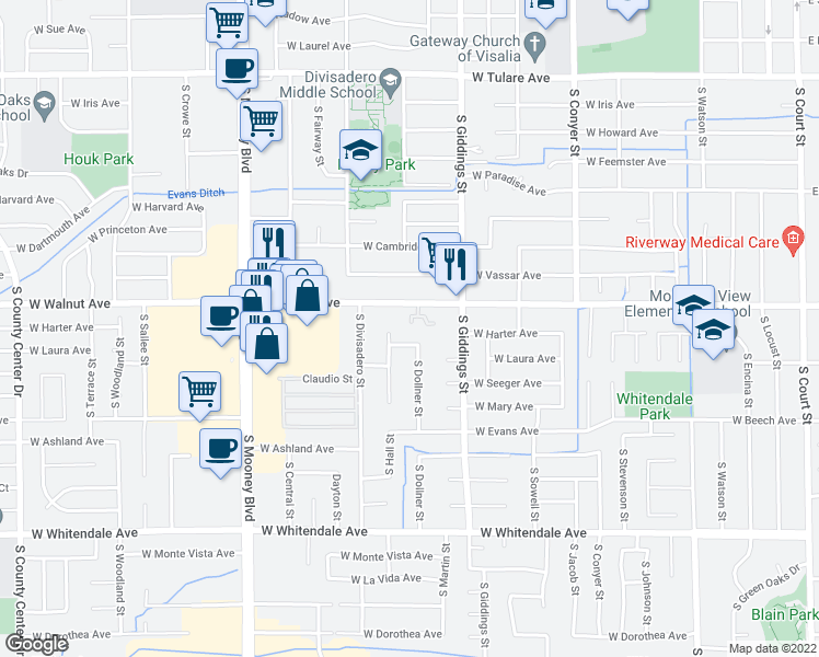 map of restaurants, bars, coffee shops, grocery stores, and more near 3816 South West Street in Visalia