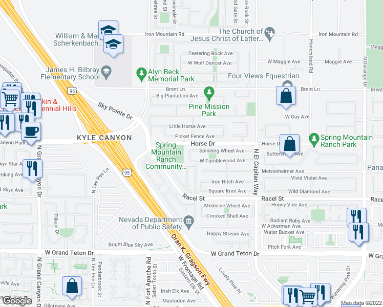 map of restaurants, bars, coffee shops, grocery stores, and more near 9057 Spinning Wheel Avenue in Las Vegas