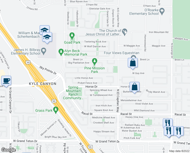 map of restaurants, bars, coffee shops, grocery stores, and more near 8932 Little Horse Avenue in Las Vegas