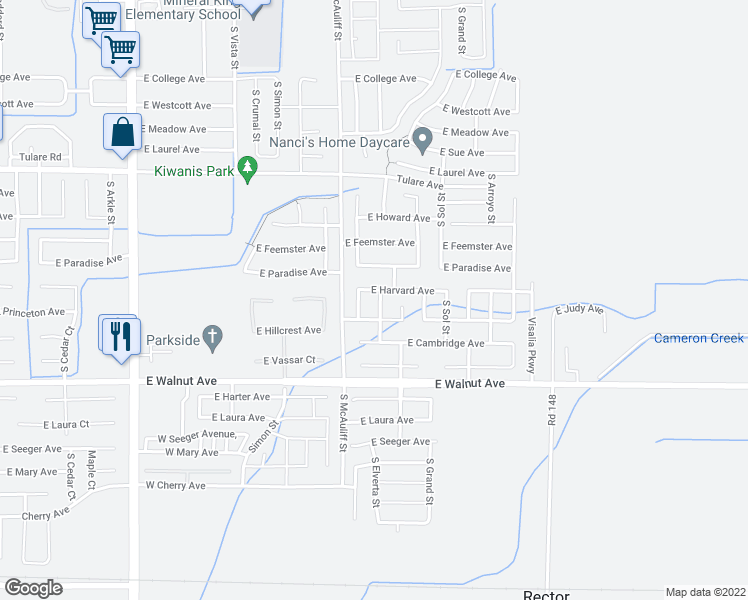 map of restaurants, bars, coffee shops, grocery stores, and more near 1717 South Elverta Street in Visalia