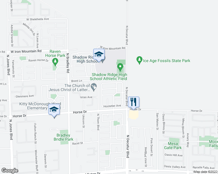 map of restaurants, bars, coffee shops, grocery stores, and more near 5032 Diamond Ranch Avenue in Las Vegas