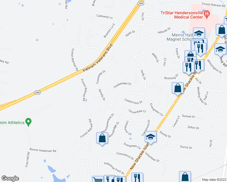 map of restaurants, bars, coffee shops, grocery stores, and more near 148 Timberlake Drive in Hendersonville