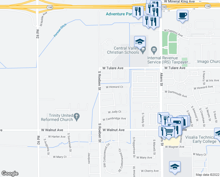 map of restaurants, bars, coffee shops, grocery stores, and more near 5933 West Howard Court in Visalia