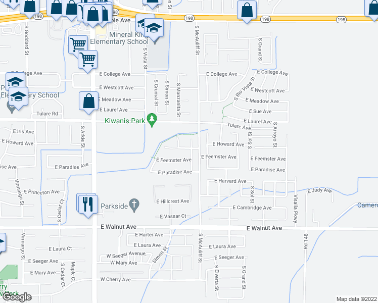 map of restaurants, bars, coffee shops, grocery stores, and more near 3611 East Howard Avenue in Visalia