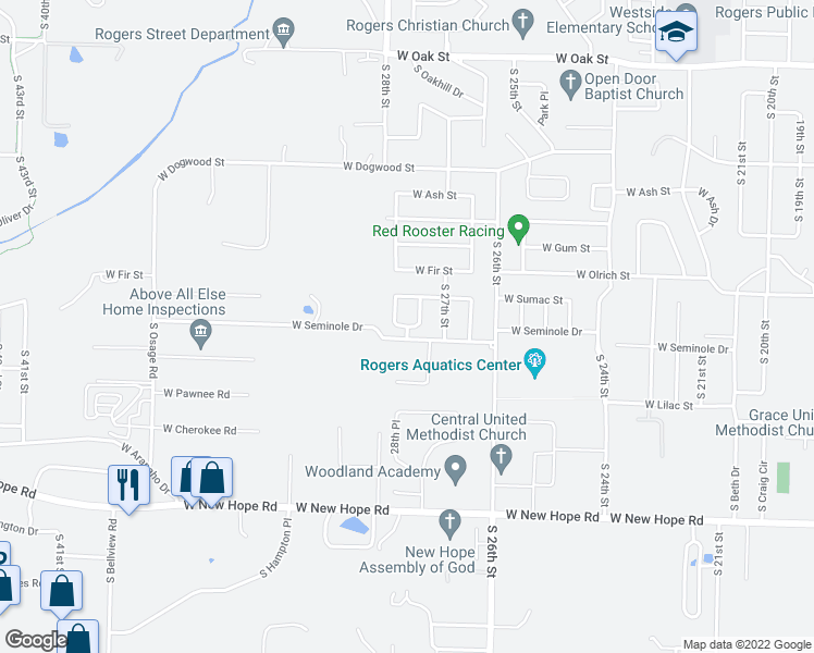 map of restaurants, bars, coffee shops, grocery stores, and more near 2800 West Seminole Drive in Rogers