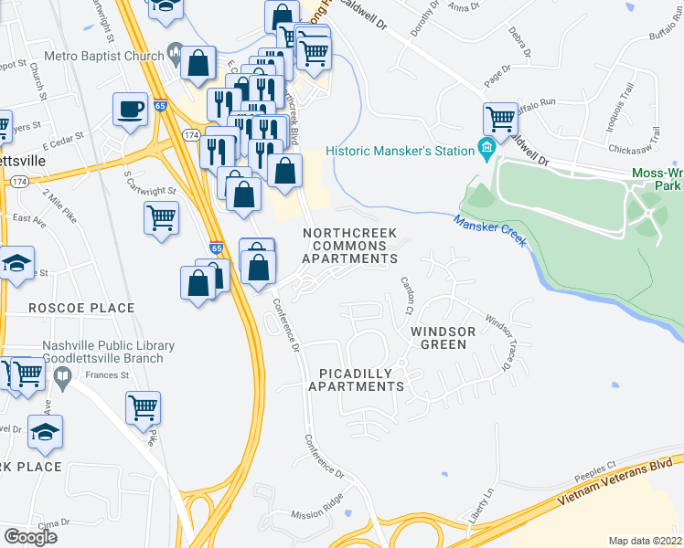 map of restaurants, bars, coffee shops, grocery stores, and more near 100 Lenox Place in Goodlettsville